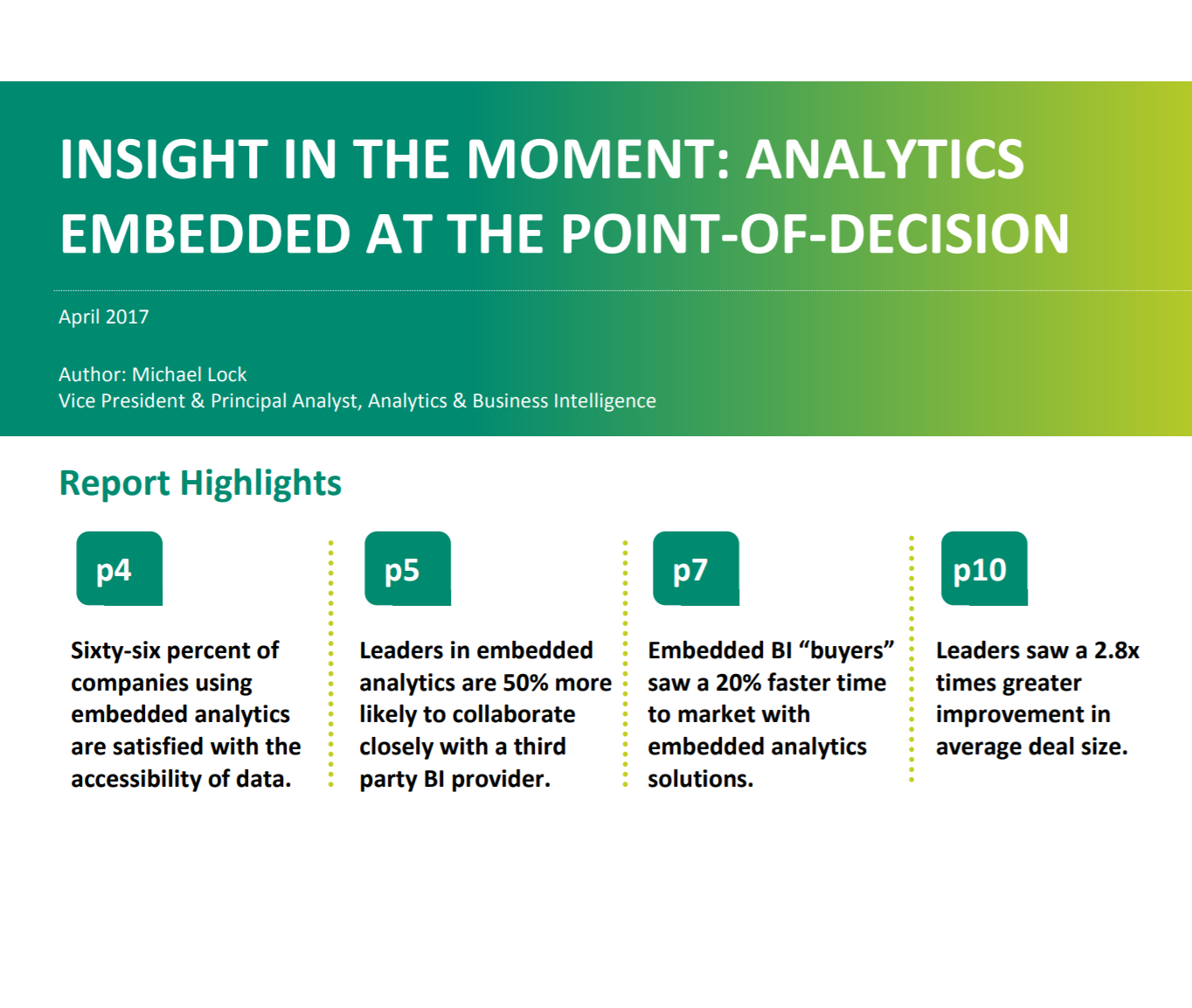 Analytics Embedded at the Point-Of-Decision
